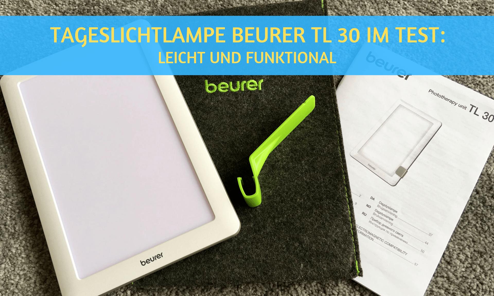 Die Tageslichtlampe Beurer TL 30 im Test. Mit Tasche und Bedienungsanleitung.